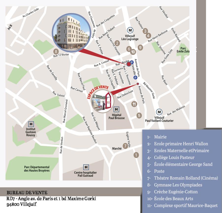 Le carré d'Italie-Programme immobilier à Villejuif rue reulos